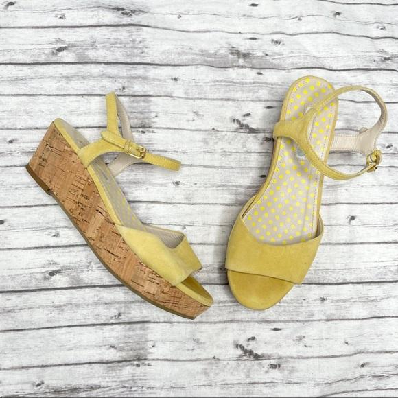 BODEN Sofia Yellow Suede Cork Wedge Heels